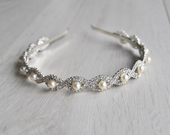 Wedding Bridal Headband Rhinestone Pearls 1920s Headpiece, Flapper headband headpiece The Great Gatsby crystal flapper headpiece headband