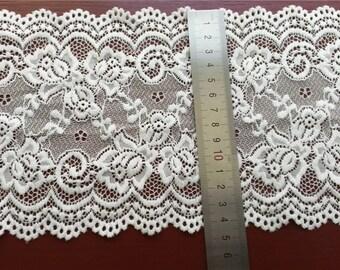 "6"" Wide off white Floral Scallop Edge Stretch Lace trim,wedding lace-off white/black"