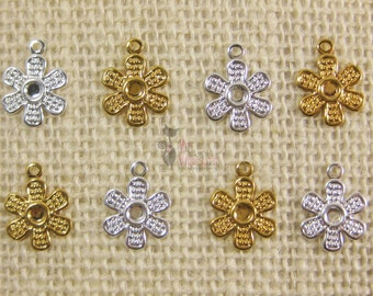 24pc, Silver & Gold Plated Flower Drops~ Jewelry Findings
