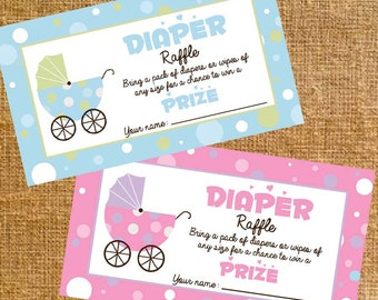 Carriage Baby Shower Diaper Raffle Tickets Girl/Boy - Digital File - INSTANT DOWNLOAD