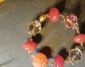 Bracelet, beaded, pink