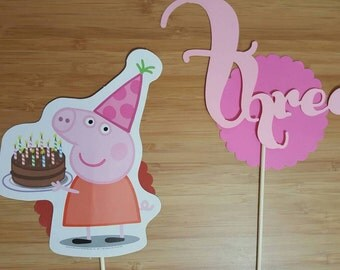 Peppa Pig Party decoration / Peppa Pig toppers