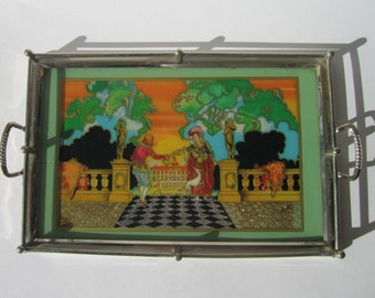 1950s German made drinks tray hand painted foil