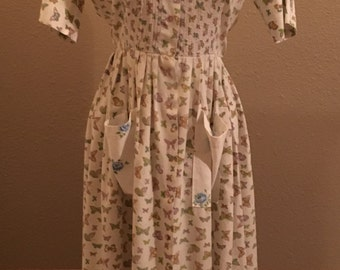 Vintage Miss Smith Day Dress Mid Century Dress Butterfly Size 4-6 1960s