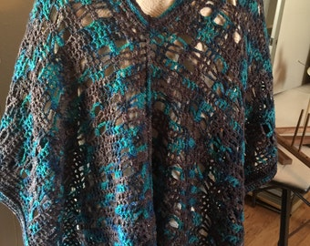 Poncho made from my hand dyed yarn