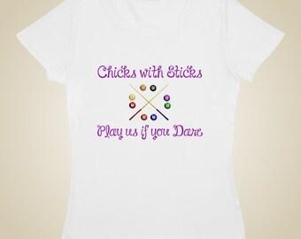 Pool Billiards t shirt Chicks with Sticks