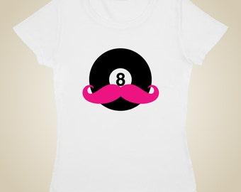 Pool Billiards t-shirt Eight Ball Mustache