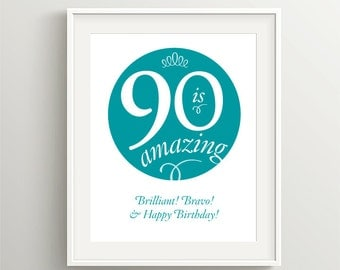 Happy 90th Birthday! Instant download files for card or poster, Teal color, 90 is amazing!