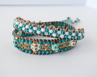 Teal and bronze beaded wrap bracelet