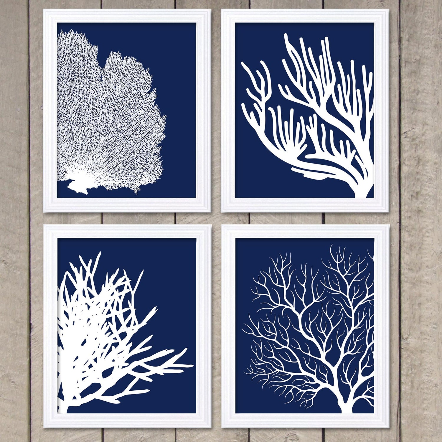 Coral prints navy blue white set of 4 coral wall art coral zoom amipublicfo Images