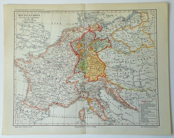 1897  Antique Map of CENTRAL EUROPE... 118 years old chart!
