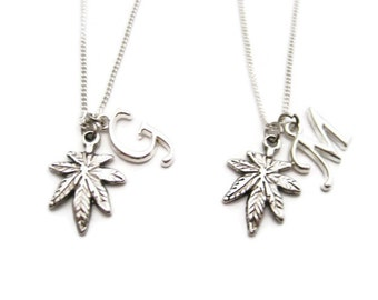 Best Buds Necklace Set Initial Pot Leaf Necklace Weed Necklace Personalized Best Friends Gifts  Be Kind 420 Necklace Stoner Necklace Set