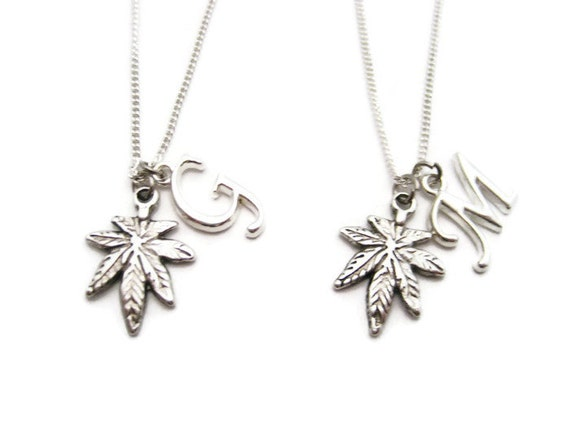 best buds necklace set initial pot leaf necklace necklace