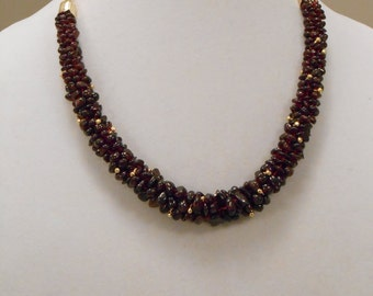 Free Shipping : Garnet Chip Necklace with Free matching earrings
