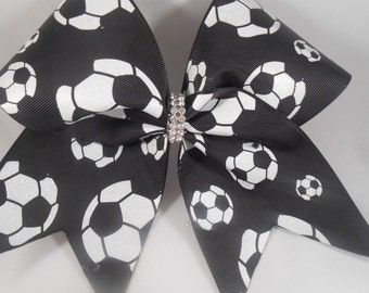 Cheer Bow Soccer Black and White Double Layer by BlingItOnCheerBowz