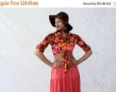 35% Off Moving Sale Vintage 1970s Crop Top, Floral Blouse, Vintage 70s Blouse, Size XS / Small