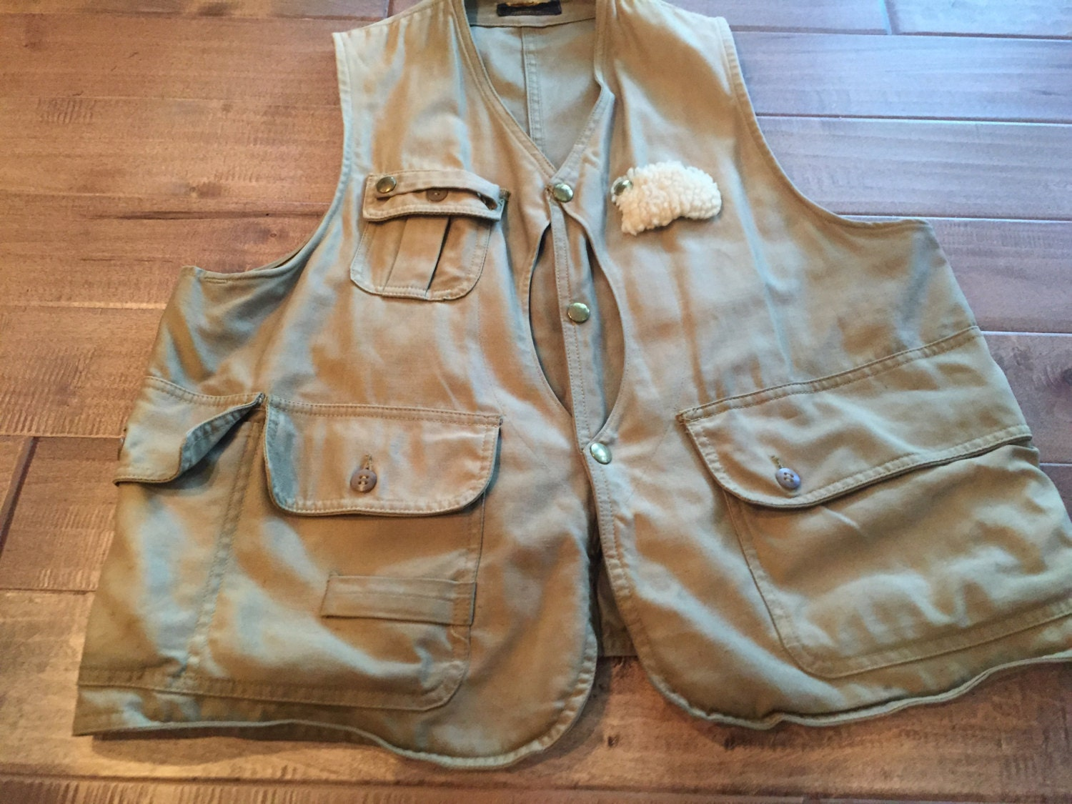 Vintage ll bean fishing vest with sheepskin fly patch and lots for Ll bean fishing