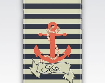 Case for iPhone 8, iPhone 6s,  iPhone 6 Plus,  iPhone 5s,  iPhone SE,  iPhone 5c,  iPhone 7,  Nautical Anchor Personalised iPhone