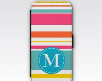 Wallet Case for iPhone 8 Plus, iPhone 8, iPhone 7 Plus, iPhone 7, iPhone 6, iPhone 6s, iPhone 5/5s - Coloured Stripes Monogram Case