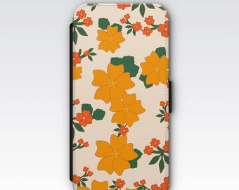 Wallet Case for iPhone 8 Plus, iPhone 8, iPhone 7 Plus, iPhone 7, iPhone 6, iPhone 6s, iPhone 5/5s - Vintage Orange Floral Pattern Case