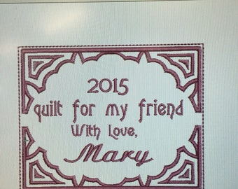 Quilt label custom embroidery