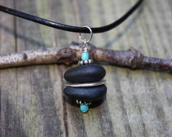 Lake Superior jewelry, basalt stone and turquoise rock necklace. Northwoods jewelry, river rock