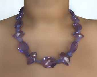 Lavender Agate and Glass Crystal Bead Necklace
