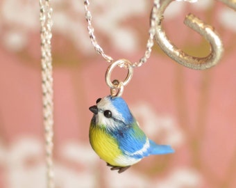 Tiny Hand-Sculpted Bluetit Pendant with Chain