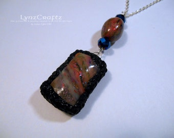 Magenta Fire magenta & black polymer clay jewelry pendant necklace cabochon charm