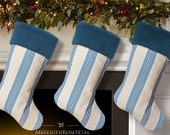Blue Christmas Stocking, Blue Stocking, Blue Christmas, Blue and White Stocking, Striped Christmas Stocking, Striped Stocking
