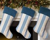 Blue Christmas Stocking, Blue Stocking, Blue Christmas, Blue and White Stocking, Striped Christmas Stocking, Striped Stocking
