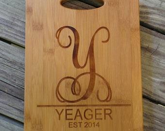 Custom Cutting Board - Personalized Cutting Board - Bamboo Cutting Board - Monogram Cutting Board - Monogram Home Decor - Wedding Gift