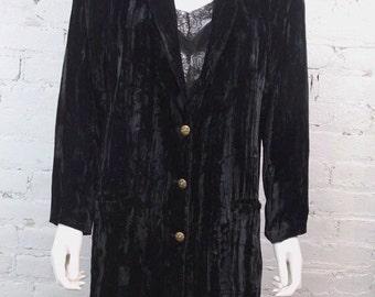 1980s Betsey Johnson Punk Label Jacket Blazer Coat Crushed Velvet Black S