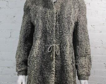 1940s Persian Lamb Fur Coat Grey Shaggy Curly Broadtail Astrikan Jacket  M