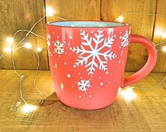 Snowflake coffee cup, coral mug, Christmas mug, Christmas gift, novelty mug, UK seller, ready to ship