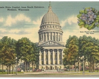 Wisconsin State Capitol from South Entrance, Madison WI Linen Era Old Postcard (Unposted)