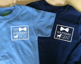 Southern Gent Long or Short Sleeve Tees Toddler and Youth Sizes 12 month- YL