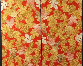 Vintage kimono silk fabric-leaf 2689N
