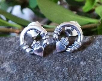 Celtic Earrings~Claddagh Earrings ~ 925 Sterling Silver Studs ~ Gift Boxed ~ Guaranteed ~ Impulse18k