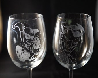 Harley Quinn and Joker Etched Wine Glass set or Champagne Flute Set or Pint Glass Set