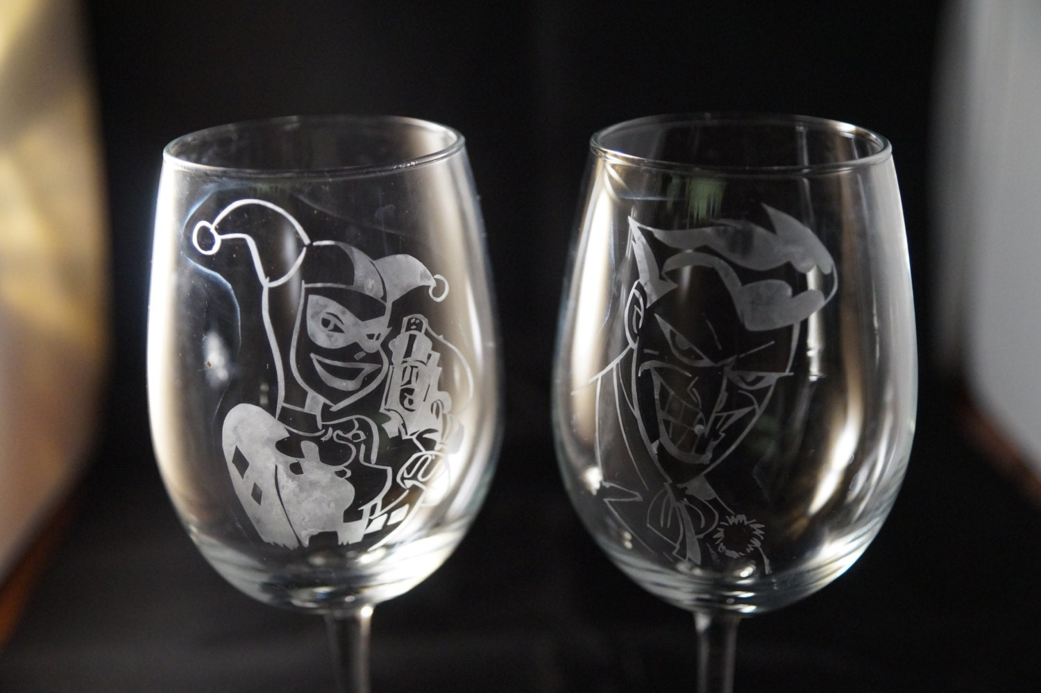 harley quinn batman harley quinn wedding ring Harley Quinn and Joker Etched Wine Glass set or Champagne Flute Set or Pint Glass Set Mad Love