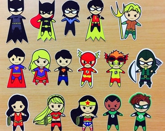 Justice League DC and Fantstic Four Fan-made Chibi Stickers