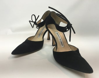 Vintage Women's Black Suede Manolo Blahnik Shoes, Vintage Black High Fashion Shoes, Vintage Suede Shoes, Women's HIgh Heel Shoes