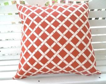 Terracotta Lattice Outdoor Pillow Cover Bamboo Beach Fall Home Decor Patio Porch Premier Cadence Canyon 18 x 18 Throw Pillow
