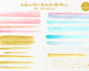 Watercolor brush strokes Mint, Peach and Gold - watercolor brush strokes for instant download for graphic design