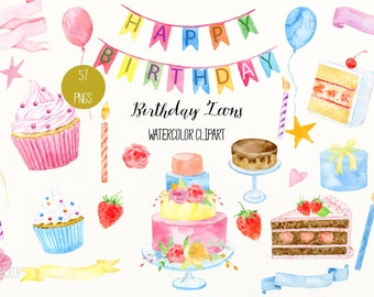 Birthday clip art, Watercolor Birthday Icons, cakes, cupcakes, banners, ribbons, balloons, buntings, birthday clipart for instant download