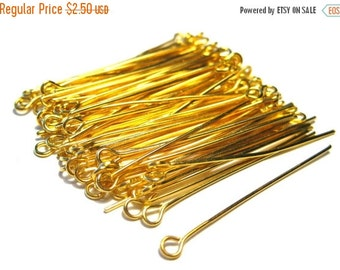 50% OFF Clearance Sale 100pcs Gold Plated Eye Pins 1.5''21ga(No.557)