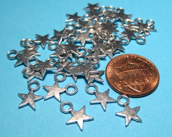 50pcs Antique Silver Star Charms Pendants 8x11mm