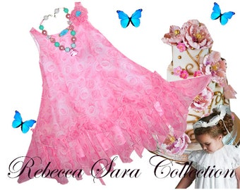 "Heirloom Girls Dress, ""Cascade of Roses"", 100% Chiffon, Victorian Girls Dress, Girls Victorian Dress, Heirloom Girls Dress, Girls Pink Dress"