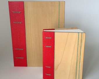 Coptic Bound Wood Cover Blank Book with Accents
